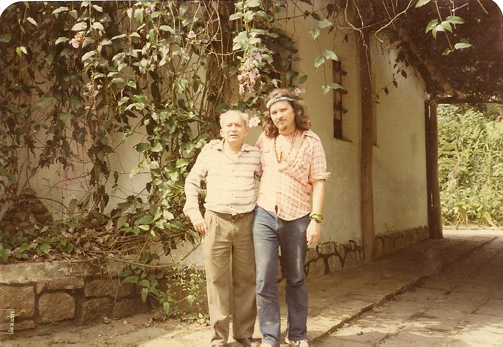 Lȇdo Ivo and the author, early 80s, at Lȇdo's sitio near Rio de Janerio.