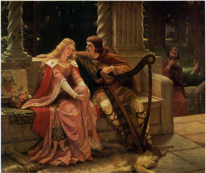 """painting by Edmund Blair Leighton, 1902 – """"Mark who's watching""""."""